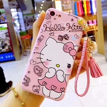 cute hello kitty Pearl diamond Pendant hand strap cover for apple iphone 6 6s 6P plus iPhone 7 7P 8 8P X soft mobile phone Case