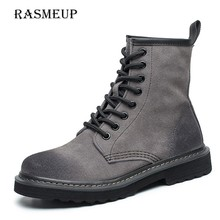 RASMEUP Genuine Suede Leather Women's Martin Boots 2018 Winter Warm Women Ankle Boots Fashion Plush Botas Casual Woman Shoes