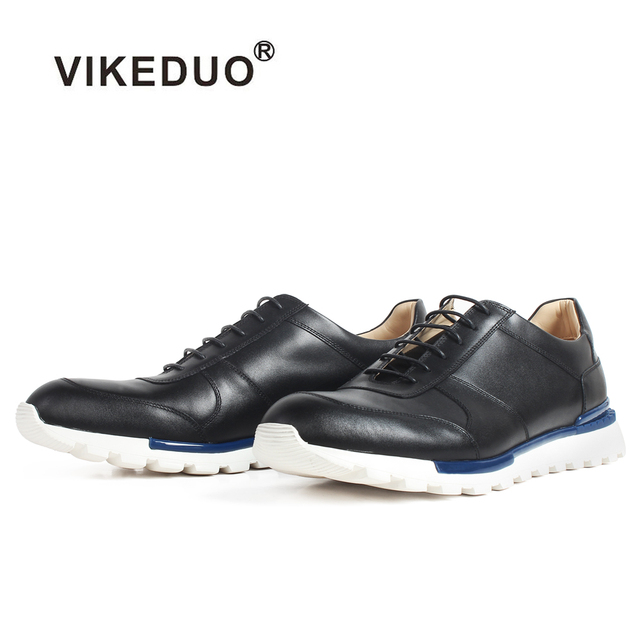 VIKEDUO New Casual Sports Sneakers Black Genuine Leather Shoes For Men Patina Custom Made Calf Skin Breathable Zapatos de Hombre