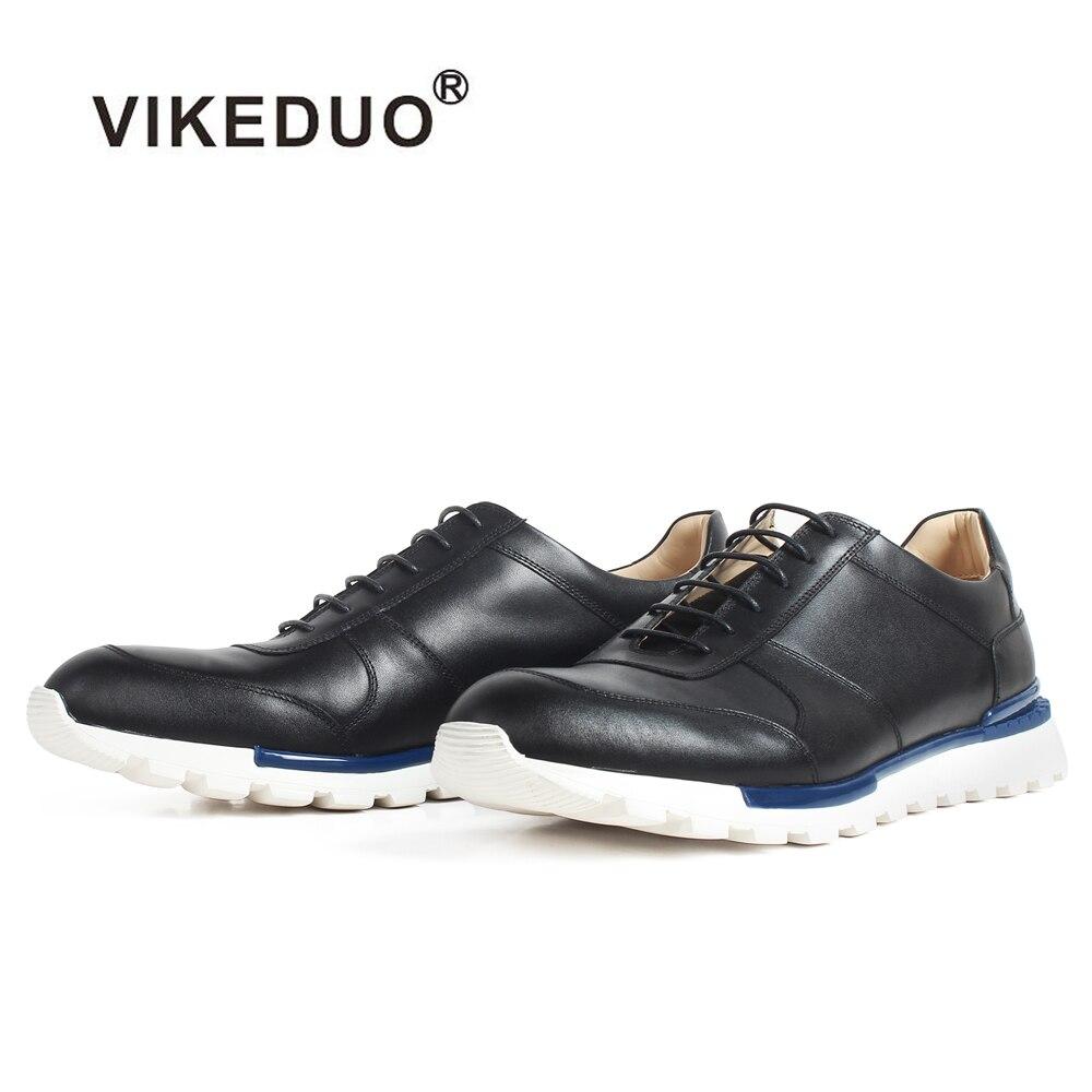 VIKEDUO nowy dorywczo sportowe trampki czarne prawdziwa skóry buty dla mężczyzn patyna wykonane na zamówienie skóry cielęcej oddychająca Zapatos de Hombre w Męskie nieformalne buty od Buty na  Grupa 1