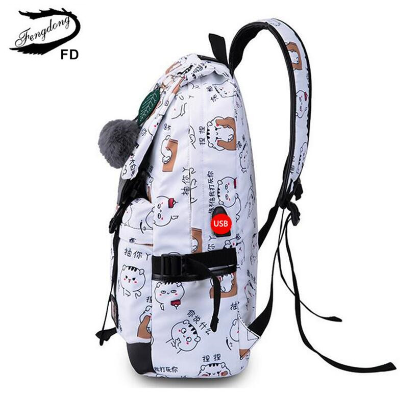 Girls School Backpack Fashion Girl Schoolbag Female Korean Style Blue Canvas Cartoon Backpack Cute Plush Ball Kids Bag Lights & Lighting