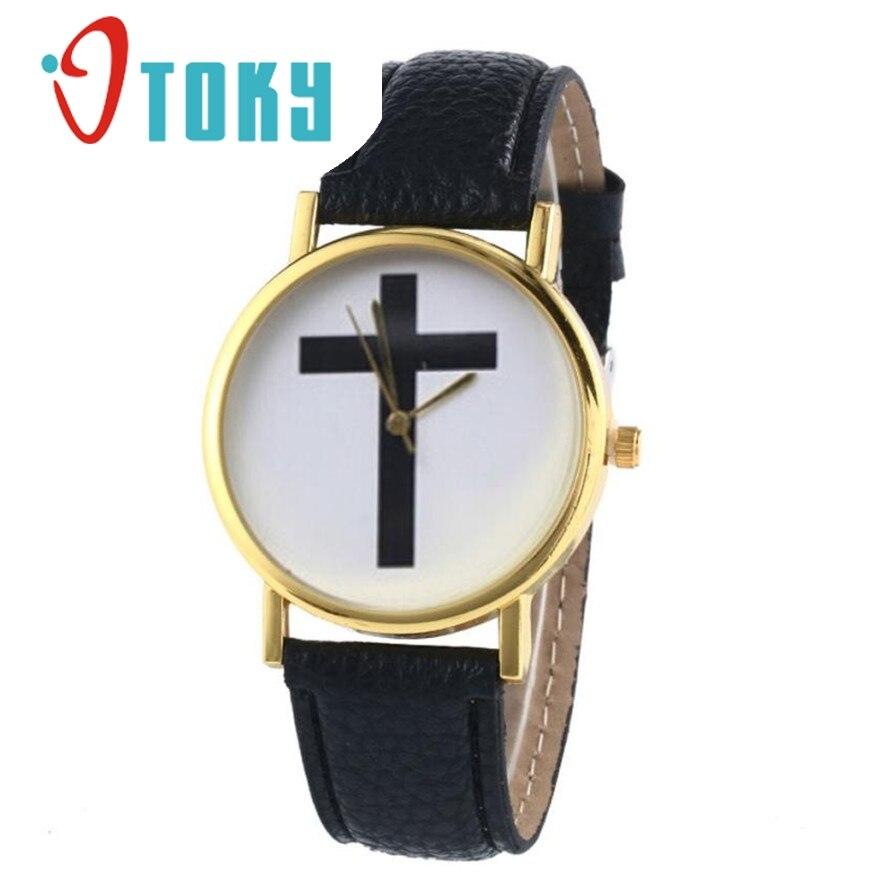 font b Watch b font OTOKY Willby Black Cross Pattern font b Watch b font