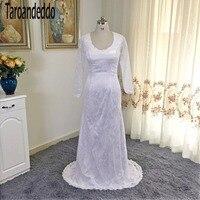 Square Collar White Lace Long Sleeves Sheath Wedding Dress Simple Style Court Train Bridal Dress Vestidos