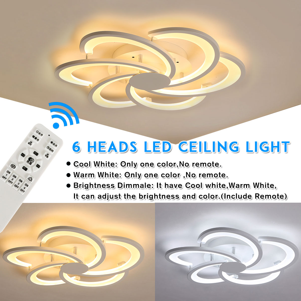 Modern 6 Heads LED Ceiling Lights Remote control for Living room Bedroom Aluminum boby indoor Lamp flush mountModern 6 Heads LED Ceiling Lights Remote control for Living room Bedroom Aluminum boby indoor Lamp flush mount