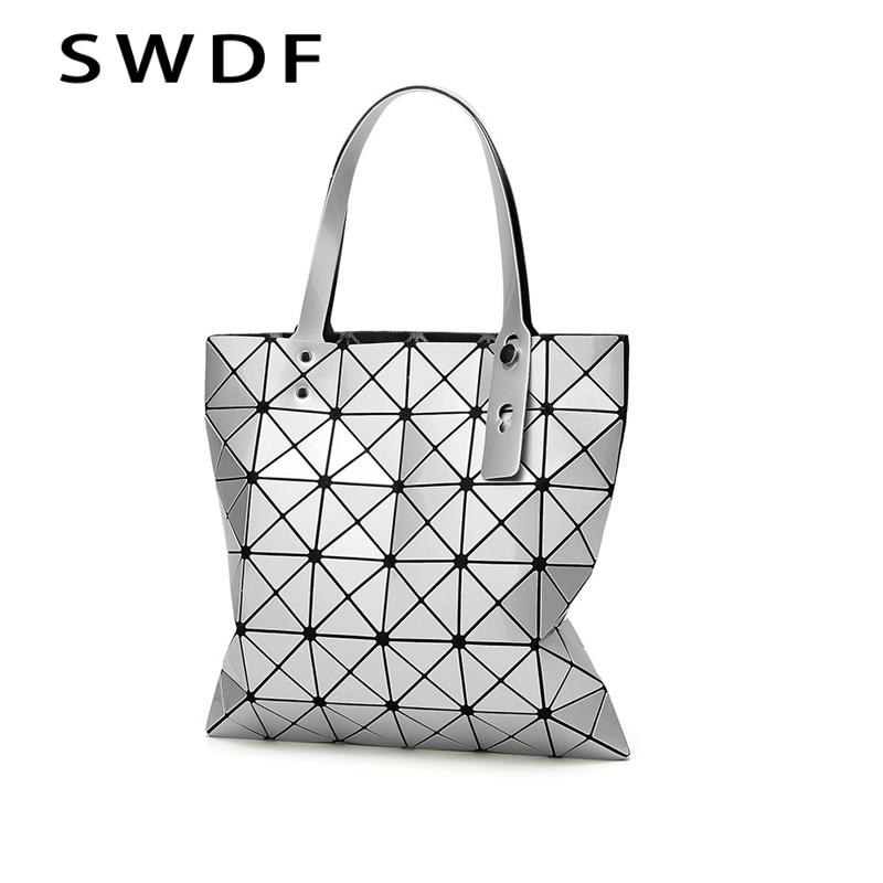 SWDF Geometric Handbag Shoulder-Bag Laser Women Bag Plain Famosa PU Marca Bolsos Mujer