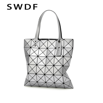 SWDF New Women Bag Bolsos Mujer De Marca Famosa 2019 Geometric Handbag PU Leather Shoulder Bag Women Laser Plain Folding Handbag