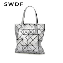 SWDF New Women Bag Bolsos Mujer De Marca Famosa 2019 Geometric Handbag PU Leather Shoulder Bag Women Laser Plain Folding Handbag(China)