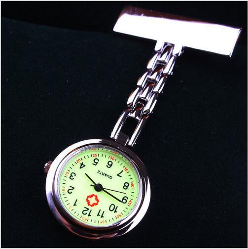 New Fashion Nurse Doctor Luminous Pendant Pocket Watches Quartz Red Cross Brooch Nurses Watch Fob Hanging Medical Watch