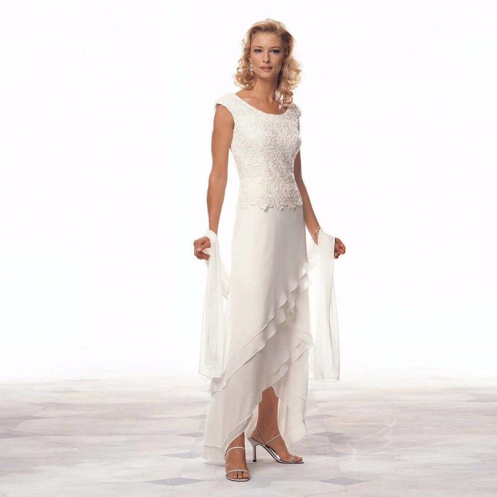 Ivoire dentelle mère de la mariée robes 2019 Scoop été formelle soirée robes asymétrie en mousseline de soie de bal robes de mariée