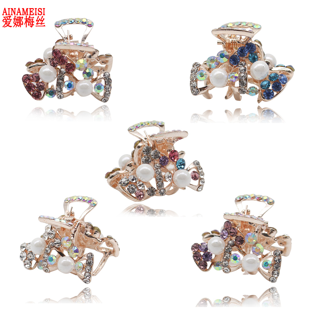 5 pcs/set Cute Butterfly Crab Hairpain Pearl Headwear Accessories Crystal Hair Claw Clip for Wedding Jewelry Gift все цены