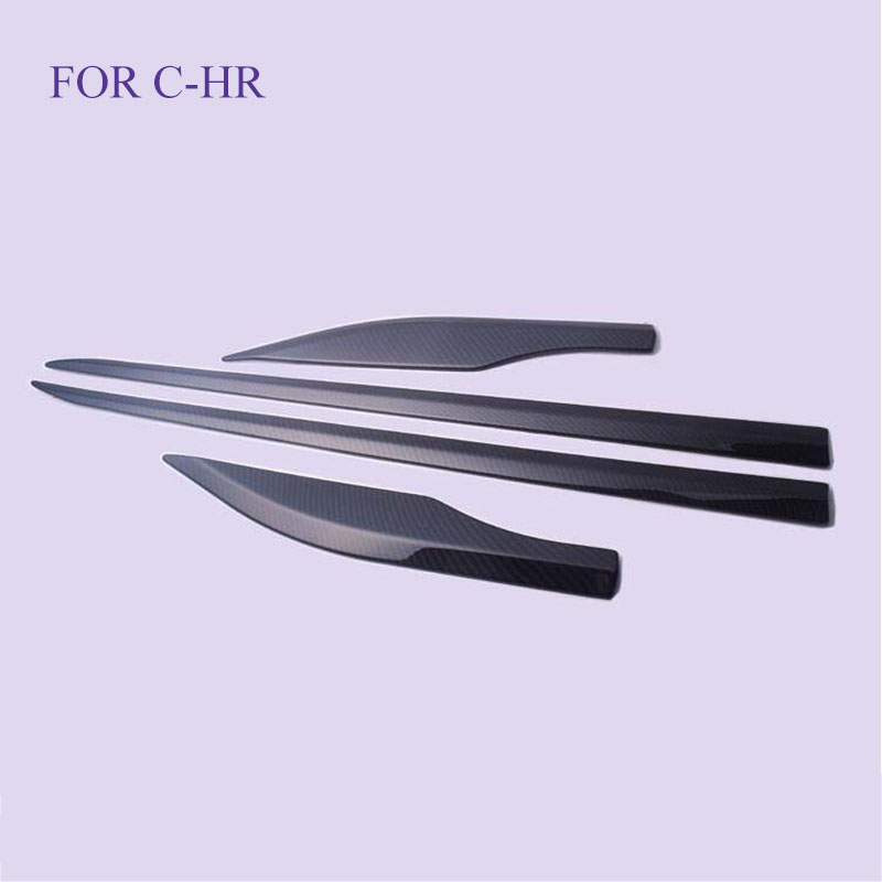 Accessories FIT For C HR CHR 2016 2017 2018 Car Side Door Molding Body Strip Streamer Protector Cover Kit Trim 4 Piece