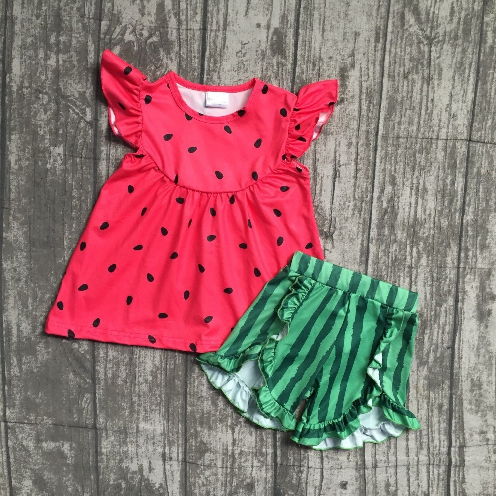 2018 new arrival watermelon short set outfit Summer outfit girls boutique clothing baby kids wear with accessories