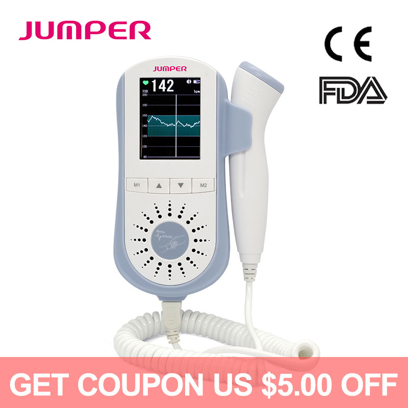 JUMPER Fetal Doppler Heartbeat Detector Portable Ultrasound Pregnant Baby Heart Rate Monitor LCD 3.0MHz Pocket DopplerJUMPER Fetal Doppler Heartbeat Detector Portable Ultrasound Pregnant Baby Heart Rate Monitor LCD 3.0MHz Pocket Doppler