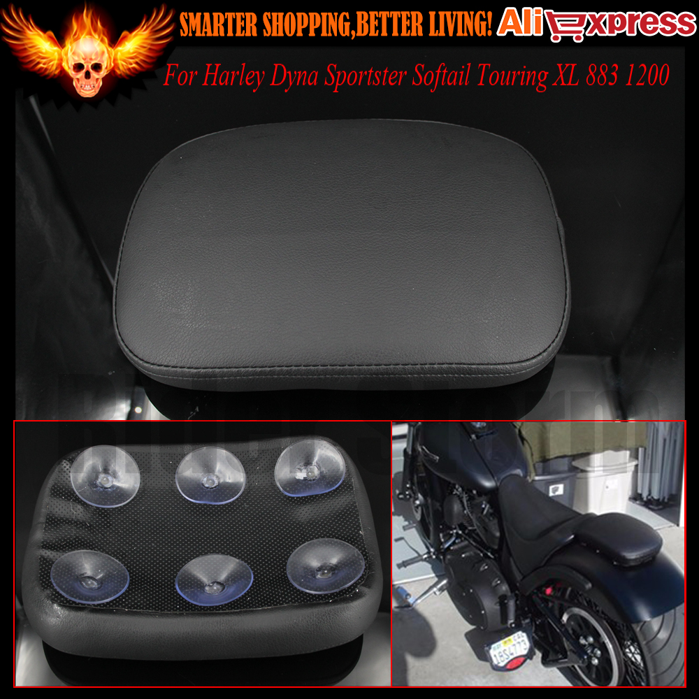 RECTANGULAR PILLION PASSENGER PAD SEAT 6 SUCTION CUP FOR HARLEY MOTORCYCLE BIKE Dyna Sportster Softail Touring XL 883 1200