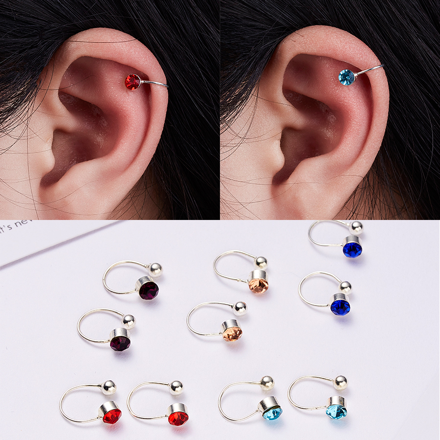 1Pair Punk Rock Clip on Earrings for Women Crystal U-Shaped Ear Cuff Wrap No piercing-Clip Statement jewelry