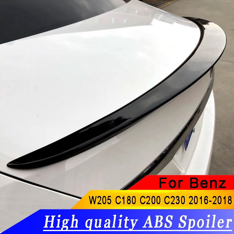 High Quality ABS material For <font><b>Mercedes</b></font> Benz <font><b>W205</b></font> <font><b>Spoiler</b></font> 2016-2018 C180 C200 C230 <font><b>spoiler</b></font> Car Rear Wing Color Rear <font><b>Spoiler</b></font> image