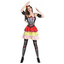COSMORE Skull Witch Costume Women Adult Halloween Carnival Fantasia Fancy Dress