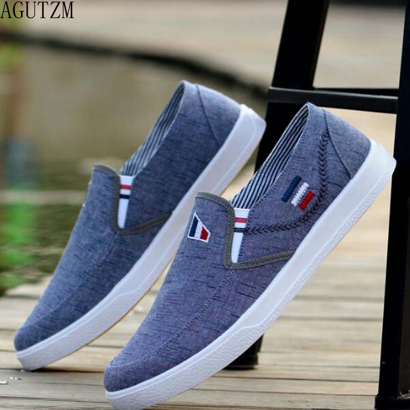 AGUTZM New Arrival Slipony Men Fashion Men Sneakers Flats Casual Shoes Denim Canvas Shoes Nice Comfortable Men Shoes Loafer Q7