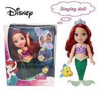 Disney 40CM Toy Doll Mermaid Ariel Singing Doll Action Character Fashion Princess Decoration Toys Girl Child Birthday Gifts