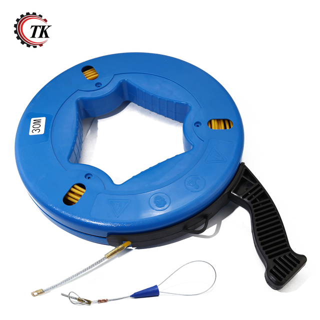 30m Electrical Fish Tape Reel Great for Pull Line Conduit Ducting Rodder Pullining Wire Cable
