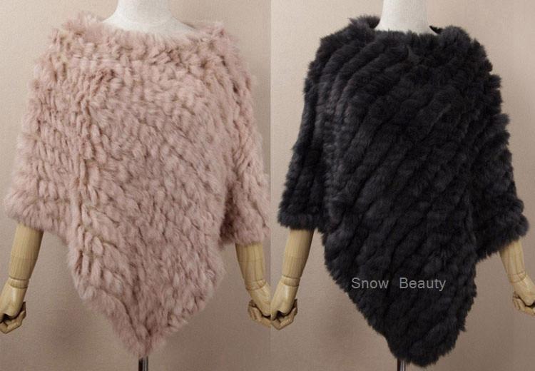 natural real knitted rabbit fur poncho shawl (35)