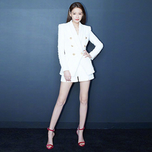 Coat Runway High Quality 2018 Autumn New Women'S Fashion Party Office Vintage Elegant Chic Plaid White Long Sleeve Jacket Suit
