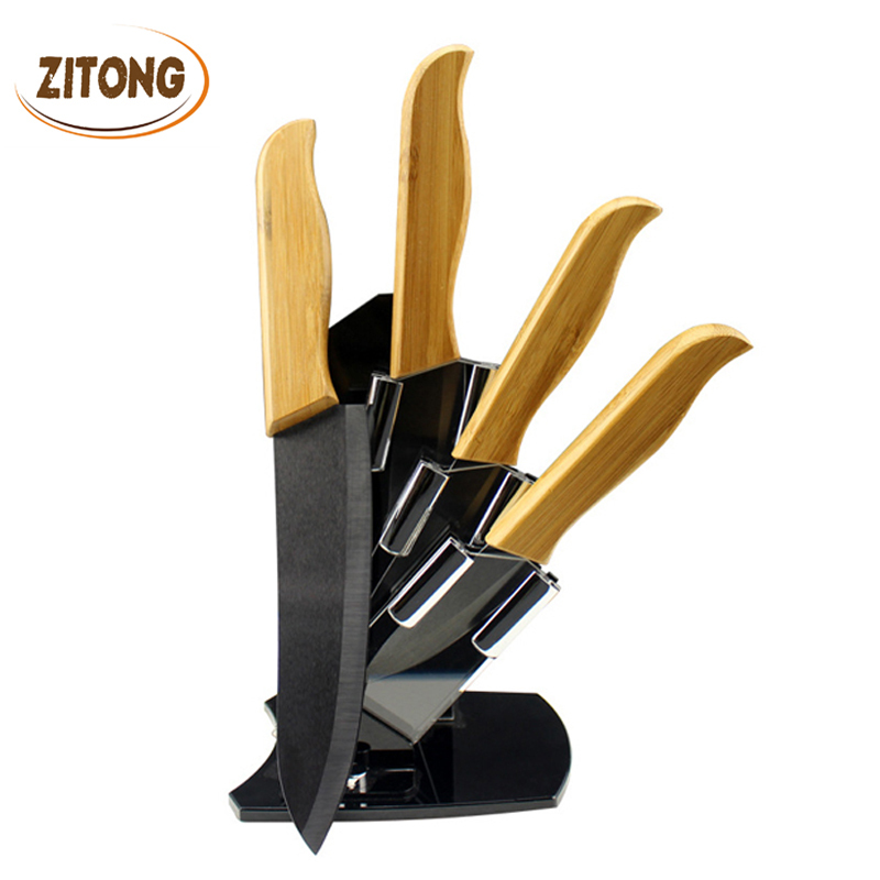 2016 Hot High Quality Bamboo Handle Ceramic Knife Black Blade Suit Exquisite Kitchen knives With Holder