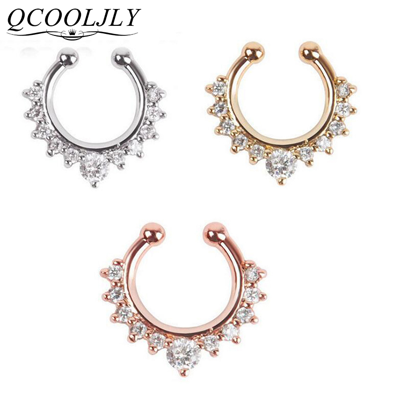 Rose Gold Crystal Ferido Cluster Universal CBR Captive Bead Ring Hoop *NEW*