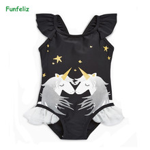 Funfeliz Black Swimwear for Girls 1-6 Years Little Girl One Piece Swimsuit Cute Kids Swimming Suit Children Cartoon Swim Wear