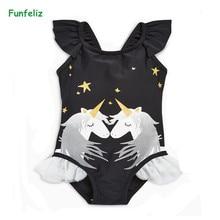 Funfeliz Black Swimwear for Girls 1-6 Years Little Girl One Piece Swimsuit Cute Kids Swimming Suit Children Cartoon Swim Wear