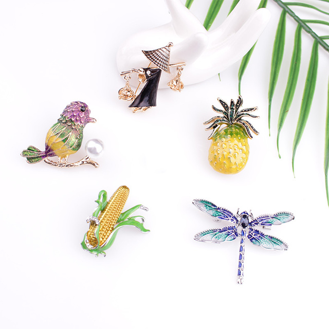 Fashion Enamel Pin Cute Vintage Brooch Large Vase Pins And Brooches