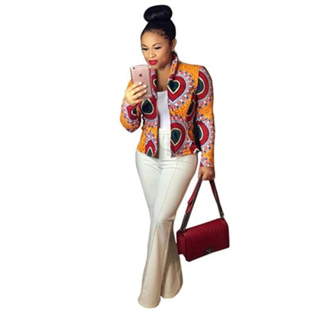 Fashion Women Sexy Totem Digital Printing Collar Long Sleeve Yellow Jacket Tailoring Stress Ladies  Jackets
