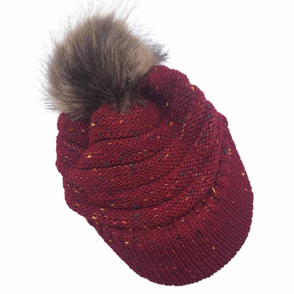 JAYCOSIN Solid Mink และ Fox Fur Ball หมวก Pom หมวกหมวกฤดูหนาวสำหรับหญิงสาวหมวกสาวหมวกถัก Beanies หมวกยี่ห้อใหม่ผู้หญิงหนา