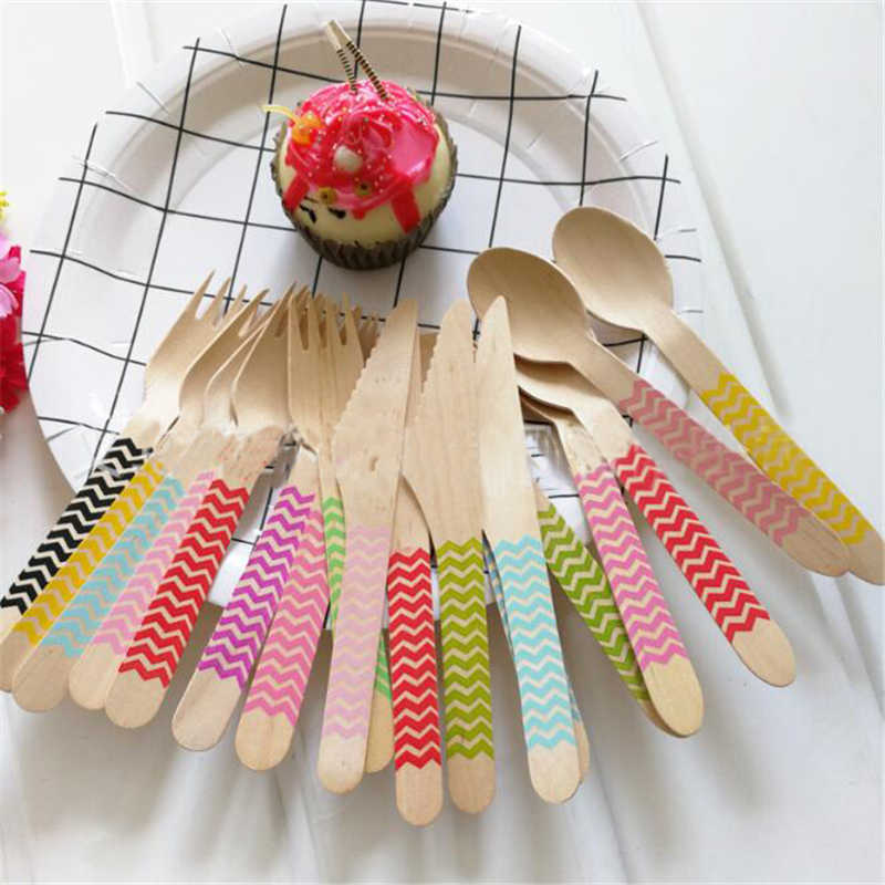 12pcs Wooden Fork Knife Spoon Sets Colorful Wavy Printed Birch picnic Disposable Tableware Sets Modern Birthday Party Supplies