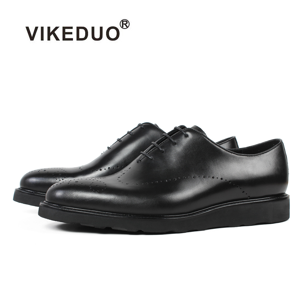 VIKEDUO Black Men s Formal Dress Shoes Brogue Wedding Office Business Shoe Male Genuine Cow Leather