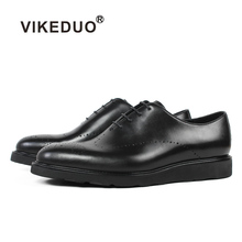 VIKEDUO Black Men's Formal Dress Shoes Brogue Wedding Office Business Shoe Male Genuine Cow Leather Sneakers Footwear Zapatos