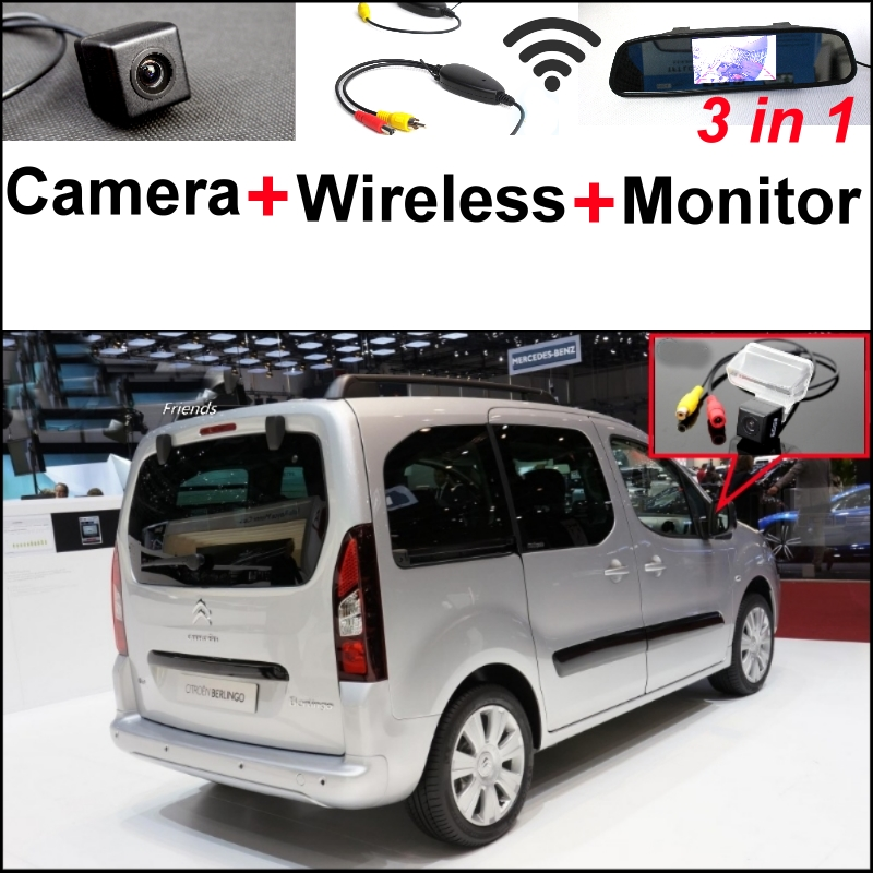 3in1 Special Camera + Wireless Receiver + Mirror Monitor Parking System For Citroen Berligo For Peugeot Grand Raid Ranch Partner wireless pager system 433 92mhz wireless restaurant table buzzer with monitor and watch receiver 3 display 42 call button