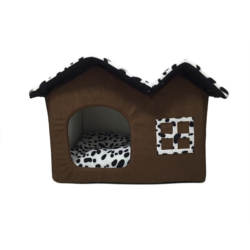 New in 2017 super cute double roof dog or cat house for Dog bed roof