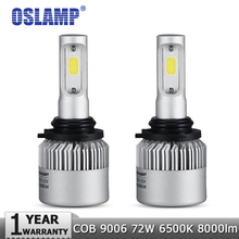 Oslamp 9006 (HB4) COB Чипы LED Комплекты Фар Автомобиля Лампы Один Луч 8000LM/pair 6500 К Автоматическая Светодиодная Головная Лампа S2 Серии противотуманные Фары