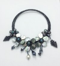 2019 New Arrival Classic Luxury Pearl Shell Flower Seed beads Wrap Necklace(China)