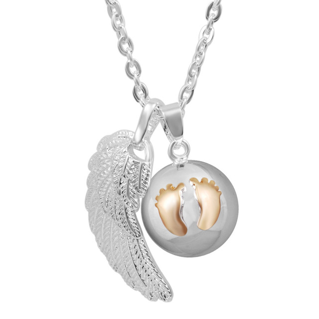 Angel Wing Baby Feet Mexican Bola Ball Pregnancy Pendant