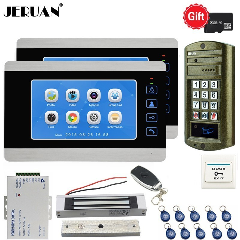 JERUAN 7 Inch Video Door phone Doorbell Voice/Video Recording Intercom System kit Metal Waterproof Password Access Camera 1V2 jeruan 7 lcd video doorbell voice video recording intercom system kit 2 monitors waterproof password access mini camera 1v2