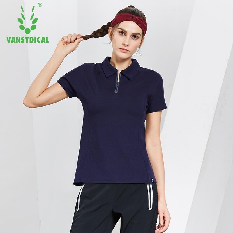 29a4b417 Vansydical Women's Half Zipper Golf Polo Shirts Short Sleeve Cotton  Breathable Outdoor Workout Tennis Golf Jerseys Sports Tops