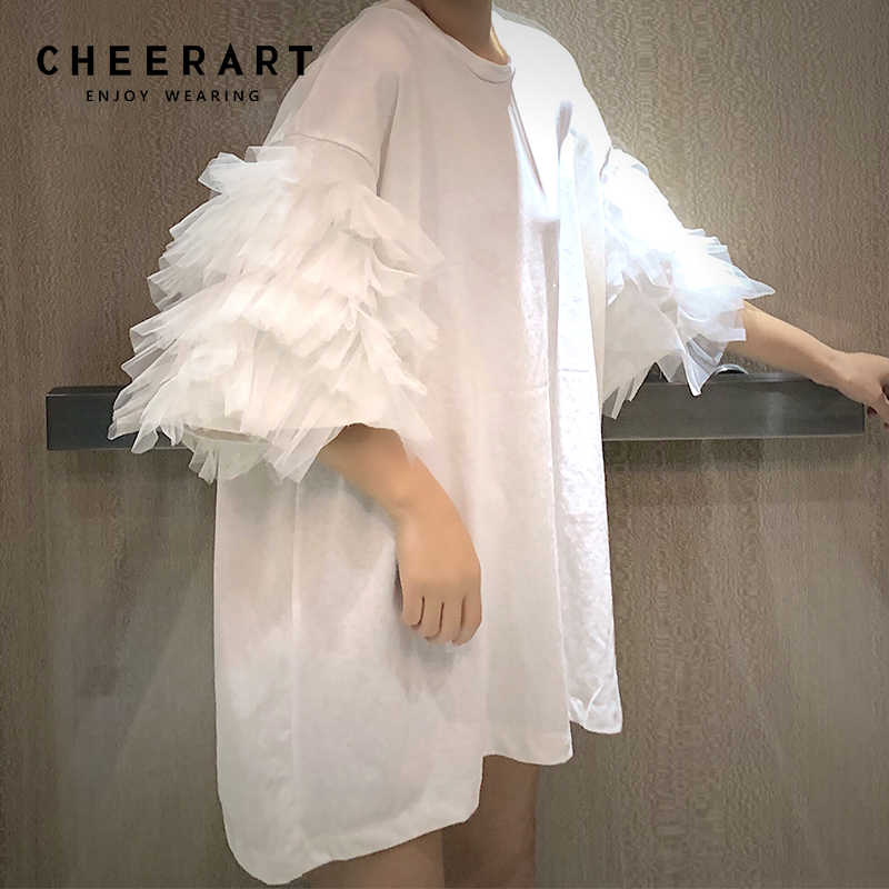 Cheerart Summer Oversized T Shirt Women Short Sleeve Mesh Top Cotton Tees Shirt Femme Puff Sleeve Top Korean Streetwear