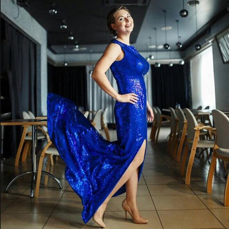 ADLN Hot Sale Royal Blue Sequin Evening Dress Side Slit Mermaid Party Wear Long Black Formal