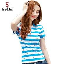 Large Size M-XXXL 2017 Women Feminina Polo Shirt Movement Loose Short Sleeve Female Summer Breathable Striped Cotton Femme YY758