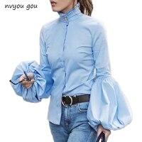 Long Wide Lantern Sleeve Blue Blouse Women Button Down Blouses Shirts Female 2018 Autumn Winter Fashion