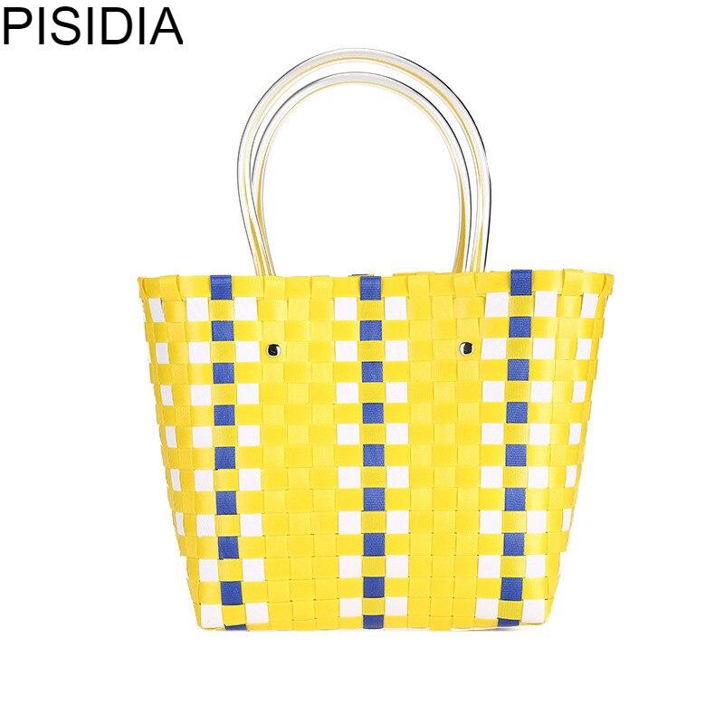 PISIDIA 2019 nouvelle mode tricot épaule femmes sac Hobos Vintage panier sac à provisions coloré sac de plage