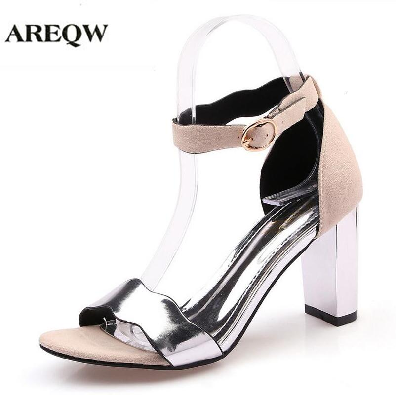 AREQW 2017 summer new high-heeled sandals women fashion large size coarse heels silver OL professional shoes women high heels summer new large size denim shorts female high waist jeans thin 2017 new fashion women slim belly short pant