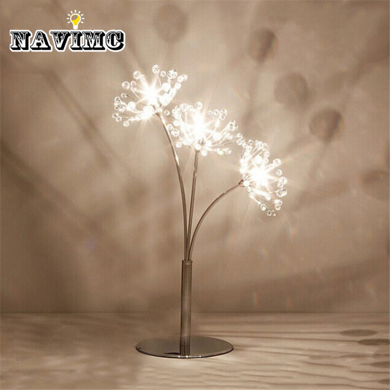 Modern Dandelion Crystal Led Table Lamps Bedside Reading